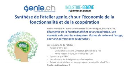 Synthèse de l'atelier genie.ch N°9 sur l'économie de la fonctionnalité et de la coopération
